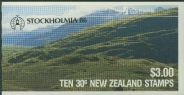 NZ Booklet SGSB41 $3 Kakapo Booklet containing SG1288 overprinted Stockholmia